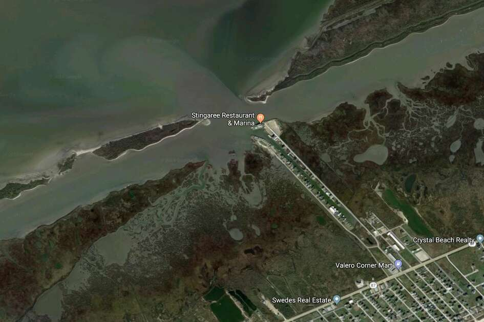 Google Maps satellite image of where three people set off on a jet-ski excursion. A search is on for the three.