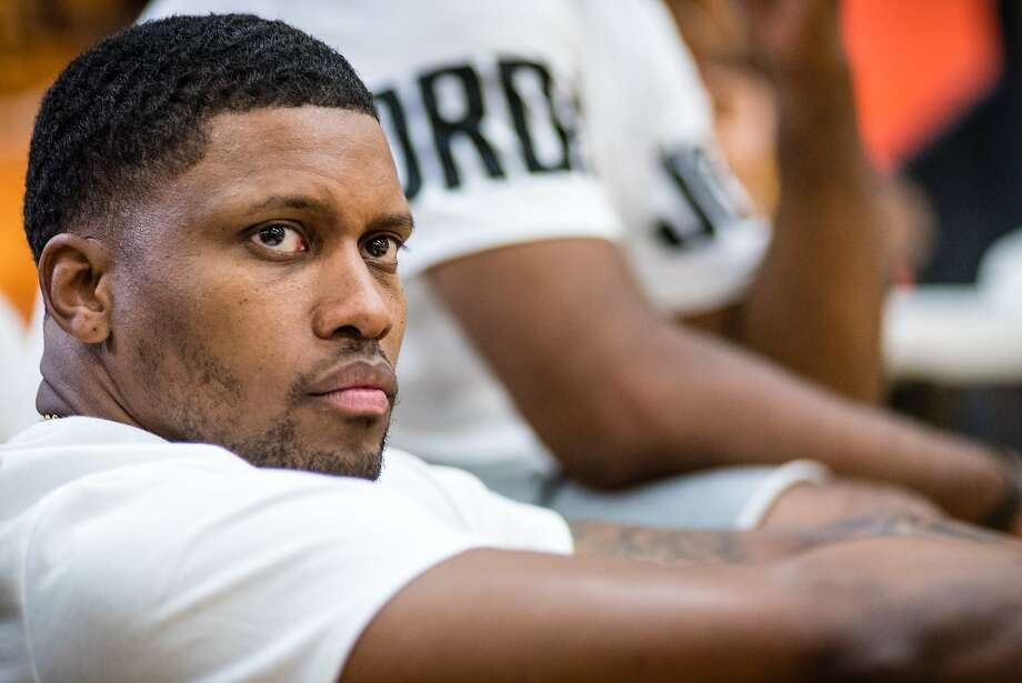 BALTIMORE, MD -- 8/18/18 -- Rudy Gay at his Flight 22 Foundation High School Showcase.  Spurs forward Rudy Gay returns to his hometown of Baltimore to host the Flight 22 Foundation tournament to showcase local youth. Gay's philanthropy extends throughout the city, where he has refurbished playgrounds, partnered with Target to give away gifts at Christmas, and other charitable works.…by André Chung #_AC15159 Photo: André Chung