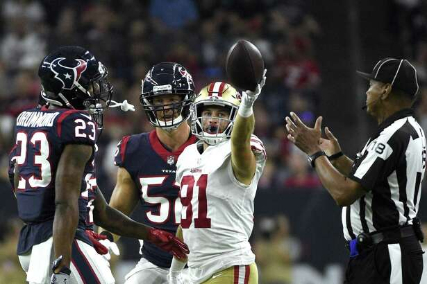 San Francisco 49ers wide receiver Trent Taylor (81) signals a first down during the first half of a preseason NFL football game against the Houston Texans Saturday, Aug. 18, 2018, in Houston. (AP Photo/Eric Christian Smith)