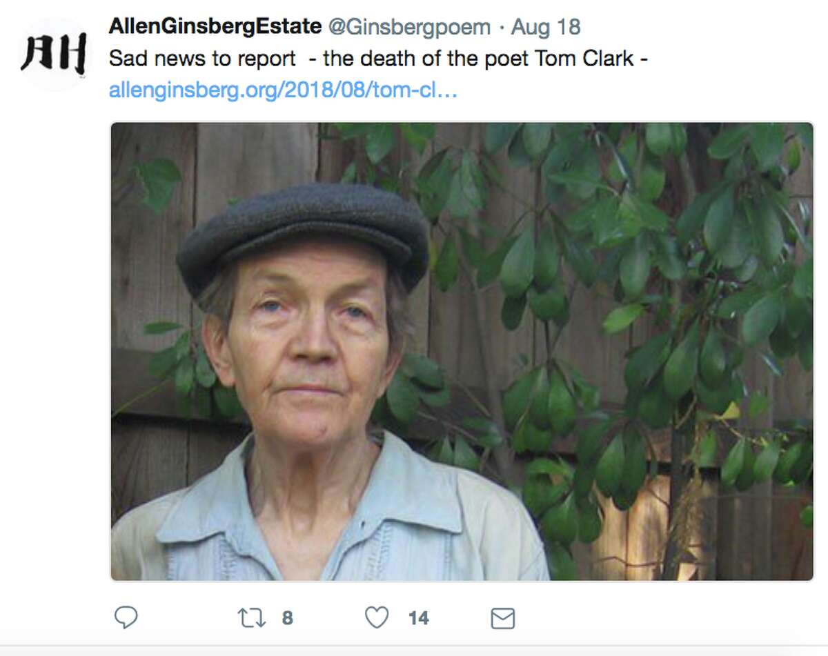 Social media reacted on Aug. 19, 2018 to the death of Berkeley poet Tom Clark. Clark, 77, was walking in Berkeley near the Alameda and Marin Avenue when he was struck by a hatchback sedan and died four hours later at Highland Hospital in Oakland. Clark authored dozens of books of poetry, a book co-written with former baseball pitching star Mark Fidrych, and a history of the Oakland A's, according to the Poetry Foundation, and also wrote poems about such A's legends as Catfish Hunter, Vida Blue and Bert Campaneris.