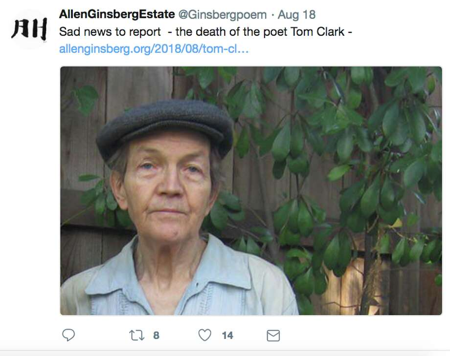 Social media reacted on Aug. 19, 2018 to the death of Berkeley poet Tom Clark. Clark, 77, was walking in Berkeley near the Alameda and Marin Avenue when he was struck by a hatchback sedan and died four hours later at Highland Hospital in Oakland. Clark authored dozens of books of poetry, a book co-written with former baseball pitching star Mark Fidrych, and a history of the Oakland A's, according to the Poetry Foundation, and also wrote poems about such A's legends as Catfish Hunter, Vida Blue and Bert Campaneris. Photo: Screenshot From Twitter