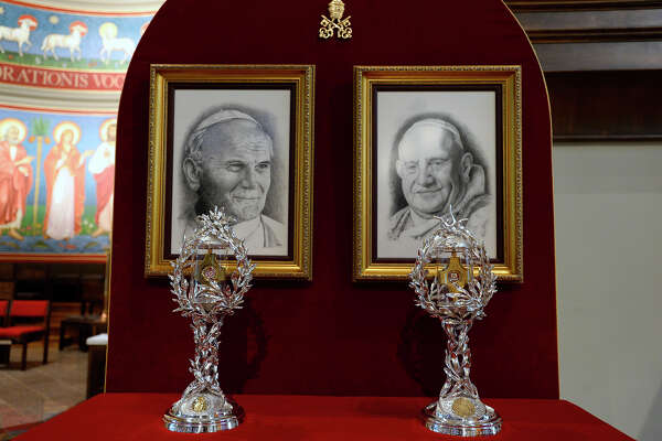 Two new relics containing blood from St. John Paul II and skin of St. John XXIII at the St. Anthony Cathedral Basilica in Beaumont. The church officially unveiled two first-class relics at Sunday mass. Photo taken Friday 8/17/18 Ryan Pelham/The Enterprise