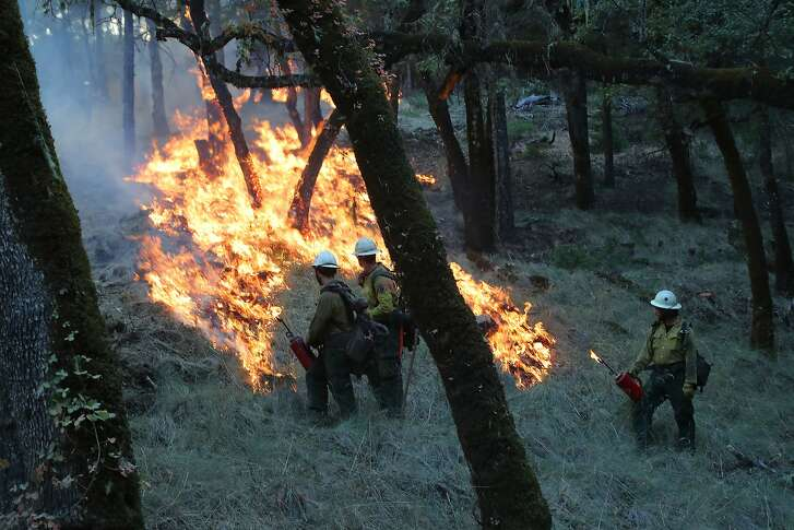 FILE -- Firefighters light a backfire while battling the Mendocino Complex Fire near Potter Valley, Calif., on Aug. 9, 2018. In total, fires in California have burned one million acres so far this year. (Jim Wilson/The New York Times)