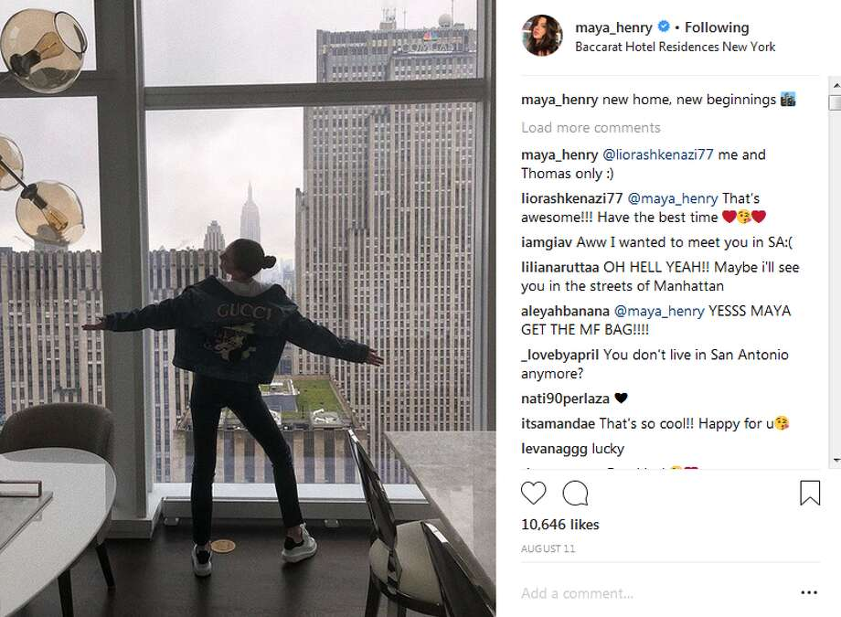 """""""New home, new beginnings,"""" Maya Henry, 18, captioned this Instagram photo of new, New York City apartment which she will share with her older brother, Thomas Jr. Photo: Instagram Screengrab"""