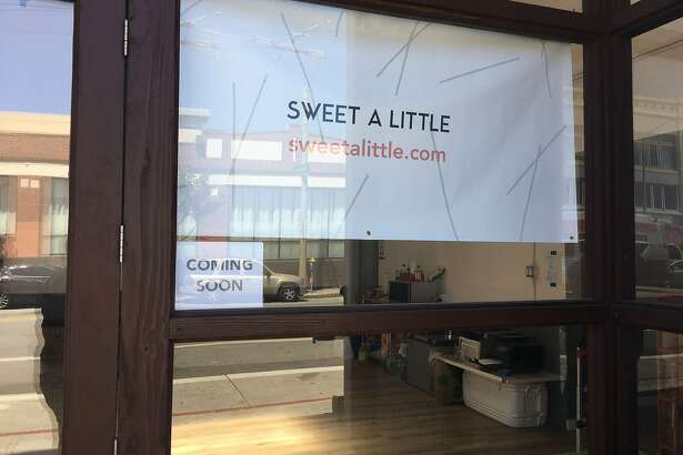 A sign for Sweet A Little, a new boba delivery shop that's taking over the former Una Pizza Napoletana space at Eleventh and Howard streets in SoMa.