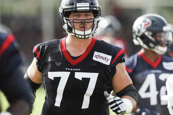 Houston Texans offensive guard David Quessenberry (77) jogs to his next drill during training camp at the Methodist Training Center on Monday, Aug. 13, 2018, in Houston.