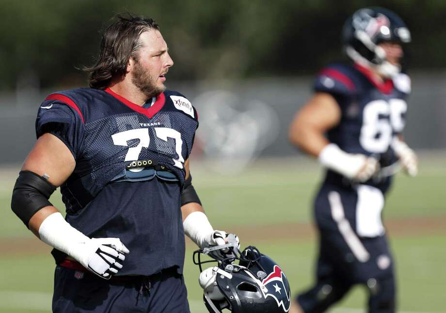 PHOTOS: Texans cut tracker Houston Texans offensive guard David Quessenberry (77) jogs onto the field for practiced during training camp at the Methodist Training Center on Tuesday, Aug. 14, 2018, in Houston. Check out the photos above for an updated list of Texans cuts this week. Photo: Brett Coomer, Staff Photographer / Staff Photographer / © 2018 Houston Chronicle