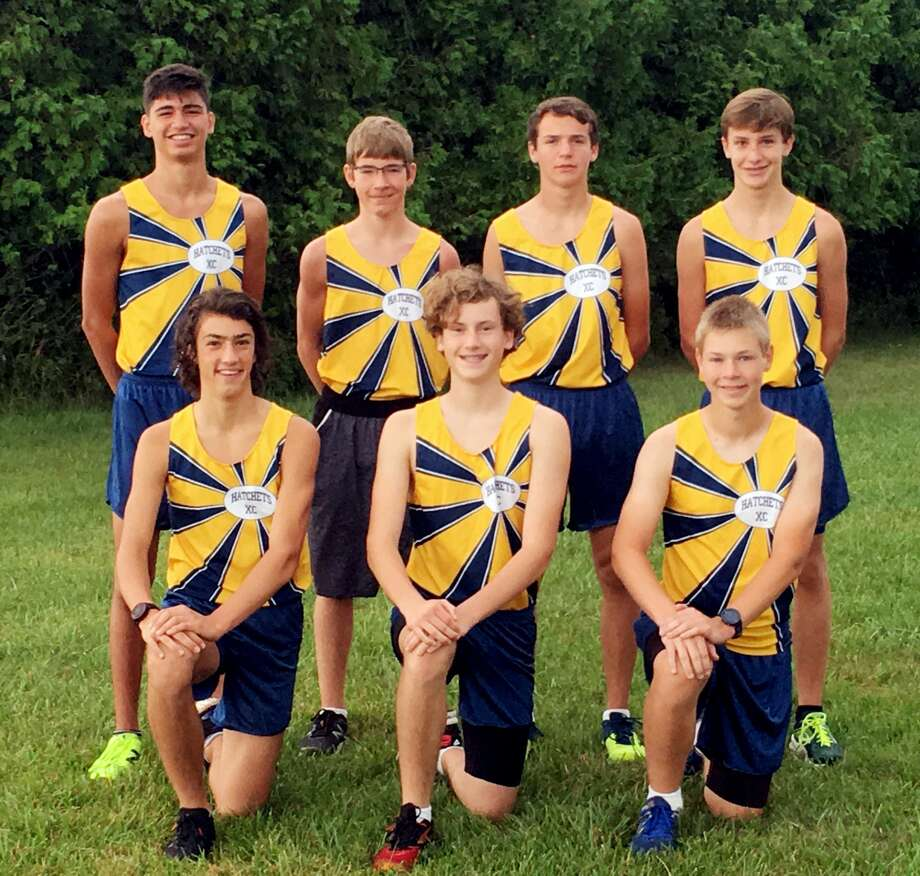 Members of the Bad Axe boys cross country team are (front row from left) David Knarian, Will Hobkirk and Alex Castel (back row) Jensen Emerick, Nicholas Clarent, Ethan Kent and Erik Kent. (Courtesy Photo) Photo: Tribune Staff
