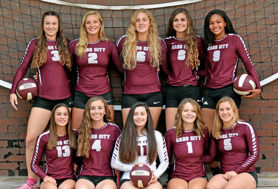 Members of the Cass City varsity volleyball team are (front row from left) Hailey Beckrow, Abbey Salcido, Kelly Ziegler, Taylor Cumper and Brittany Hamilton (back row) Hailey Schmotzer, Kacey Haire, Jalene Krol, Madilyn Tschirhart and Tiara Anthony. Missing is Morgan Russell. (Courtesy Photo)  Photo: Tribune Staff