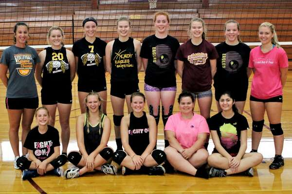 p.p1 {margin: 0.0px 0.0px 0.0px 0.0px; font: 18.0px Helvetica} span.s1 {font-kerning: none} Members of the Deckerville varsity volleyball team are (front row from left) manager Johanna Kubacki, Aubre Cashman-Brown,Lauren Flanagan, Victoria Jones and Constanza Perez (back row) coach Jessica Heilig, Lindsey Shutz, Addison Williams, Claire Watson, Emma Beaver, Ella Watson Mickaela Warczinsky, and assistant coach Claudia Harter. Missing is Haley Fritch. (Sharon Rich/For the Tribune)