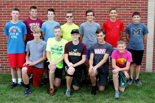 p.p1 {margin: 0.0px 0.0px 0.0px 0.0px; font: 18.0px Helvetica} span.s1 {font-kerning: none} Members of the Deckerville boys cross country team are (front row from left) Luke Asher, Brett Dumaw, Trevor Barker, Benjamin Hutchinson and Kendall Dumaw (back row) Tyler Park, Richie Barker, Chase Simkiss, Aaron Wilcox, Riley Regentin, Brett Tanton and Adam Eugster. Missing are Traiten Colesa, coach Steve Linn, and assistant coach Linda Wright. (Sharon Rich/For the Tribune)