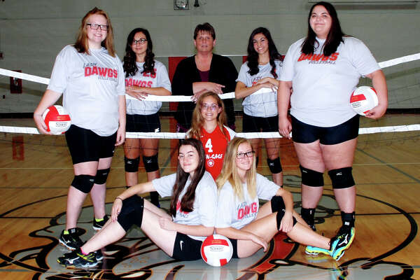 p.p1 {margin: 0.0px 0.0px 0.0px 0.0px; font: 18.0px Helvetica} span.s1 {font-kerning: none} Members of the Owendale-Gagetown varsity volleyball team are (front row from left) Carlee Rievert and Megan Fritz (middle row) Hailey Schave, Libby Ondrajka and Madyson Menzel (back row) Carley Haldane, coach Kathy Champagne and Aaliyah Gonzales.