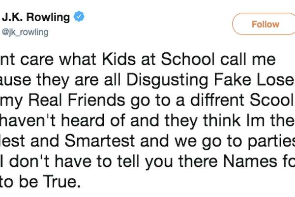 "In a response to a Tweet from Trump calling the New York Times 'fake news,"" Harry Potter author JK Rowling mocked the president in a message intentionally riddled with spelling and grammatical errors."