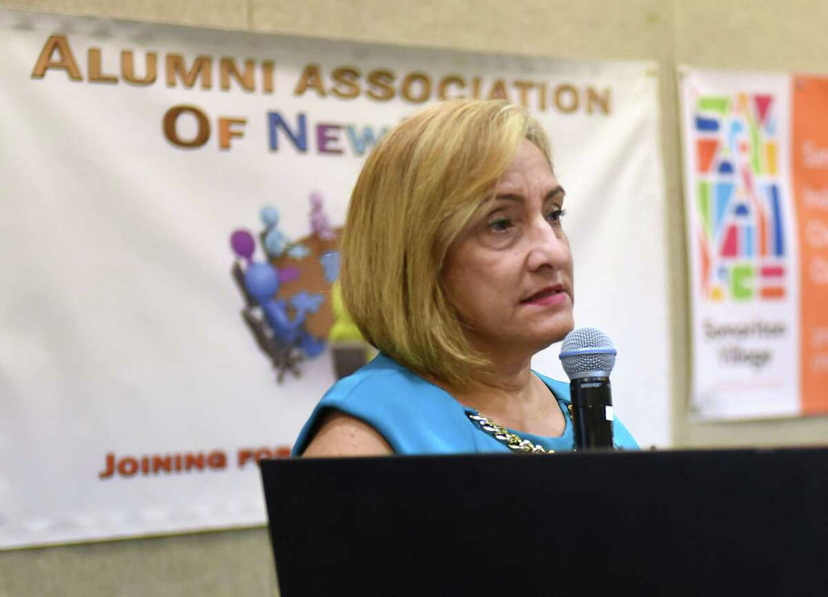 New York State Office of Alcoholism and Substance Abuse Services (OASAS) Commissioner Arlene Gonz‡lez-S‡nchez speaks before a roomful of people during the 2018 NYS Recovery Conference at the Albany Marriott on Monday, Aug. 20, 2018 in Albany, N.Y. (Lori Van Buren/Times Union)