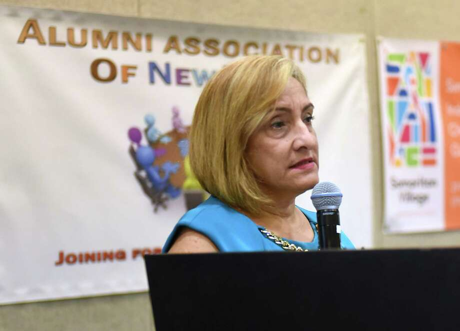 New York State Office of Alcoholism and Substance Abuse Services (OASAS) Commissioner Arlene Gonz‡lez-S‡nchez speaks before a roomful of people during the 2018 NYS Recovery Conference at the Albany Marriott on Monday, Aug. 20, 2018 in Albany, N.Y. (Lori Van Buren/Times Union) Photo: Lori Van Buren, Albany Times Union / 20044618A
