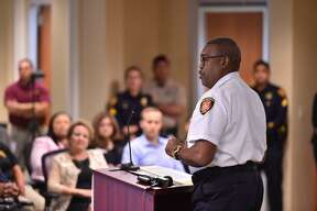 San Antonio Fire Chief Charles Hood speaks as a new collaboration was unveiled at the South Texas Regional Advisory Council headquarters Monday to help individuals experiencing a mental health crisis and to get them to the proper facility in the least amount of time.