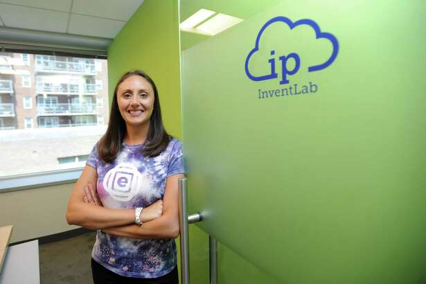 Encaptiv founder and CEO Shannon Daniels poses for a photo inside the firm's new office at 600 Summer St., in downtown Stamford, Conn., on Tuesday, Aug. 7, 2018. Encaptiv, a presentation-software startup, is the first firm to join IP law firm WhipGroup's InventLab program.