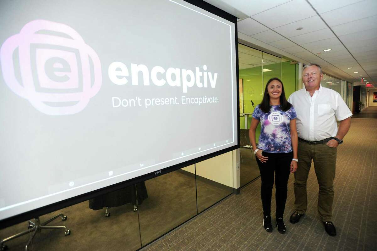 Encaptiv founder and CEO Shannon Daniels and Whitymer IP Group founder Wesley Whitmyer Jr., gather at the WHIP headquarters at 600 Summer St., in downtown Stamford, Conn., on Tuesday, Aug. 7, 2018. Encaptiv, a presentation-software startup, is the first firm to join WHIP's InventLab program.