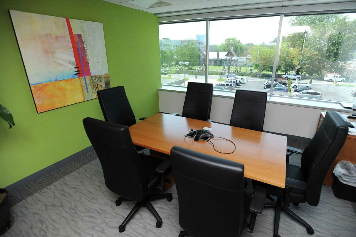 A conference room inside Whitmyer IP Group's headquarters at 600 Summer St., in downtown Stamford, Conn.