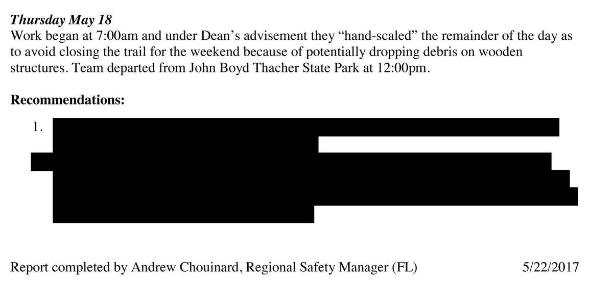 The state report on safety concerns regarding loose rock above the Indian Ladder Trail at Thacher Park in 2017. Portions of the report were redacted.