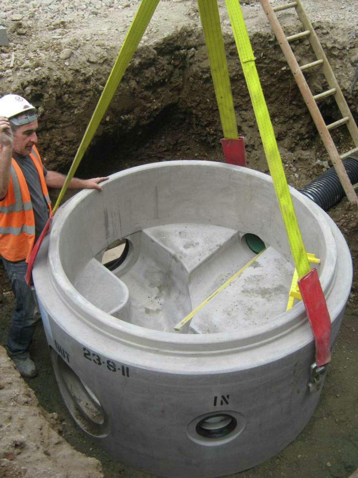 A new manhole is installed as part of the Clifton Park sewer rehabilitation project. (Saratoga County Sewer District 1)