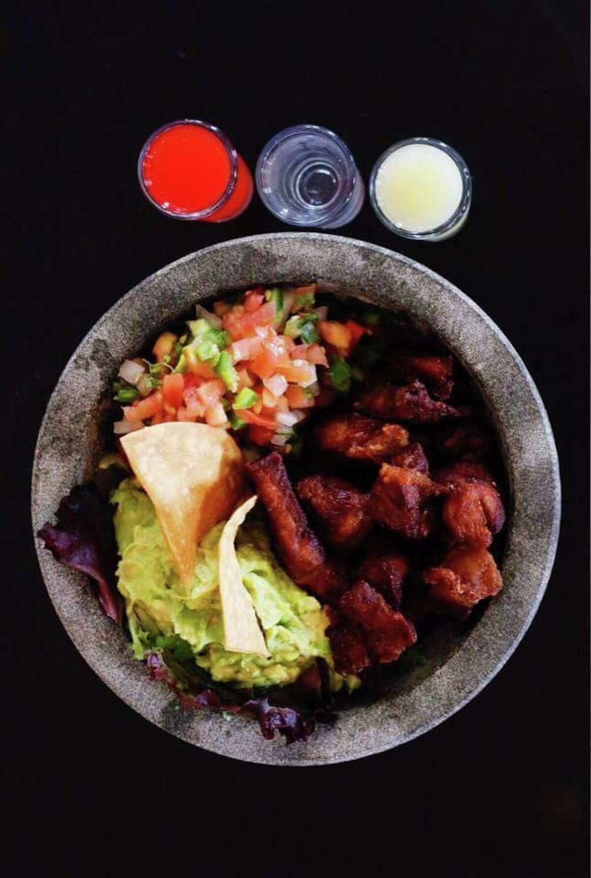 La Mariscana - Chicharrón de Ribeye Price: $20 Served with: Guacamole, Pico de gallo and corn or flour tortillas