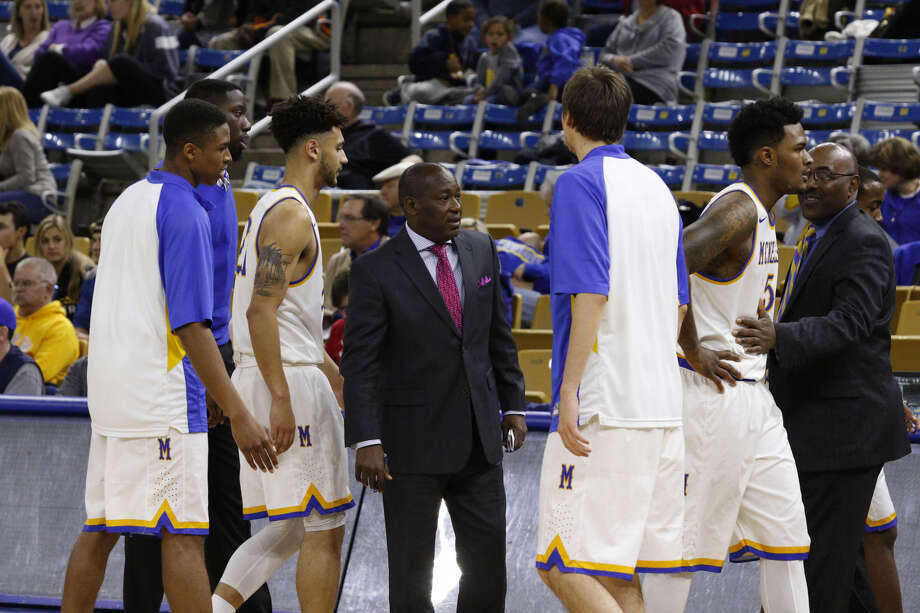 David Dumars (middle) will join the Lamar men's basketball coaching staff. (Photo provided by McNeese athletics.) Photo: McNeese Athletics