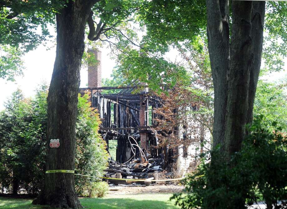 The aftermath of a house fire that occurred Friday, August 10, at 15 Locust Road in Greenwich, as seen Wednesday, August 15. Photo: Bob Luckey Jr. / Hearst Connecticut Media / Greenwich Time