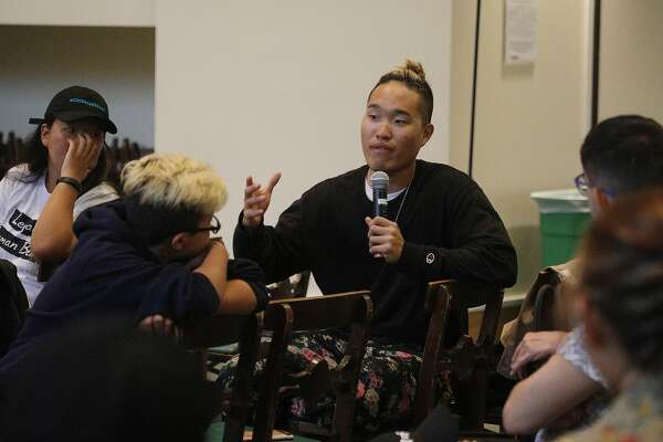 "Journey to Justice rider ""Bo Thai"" of Los Angeles, who has been impacted by recent immigrant legislation, answers a question from the audience during the Journey to Justice press conference at Calvary Presbyterian Church on Monday, August 20, 2018 in San Francisco, Calif."