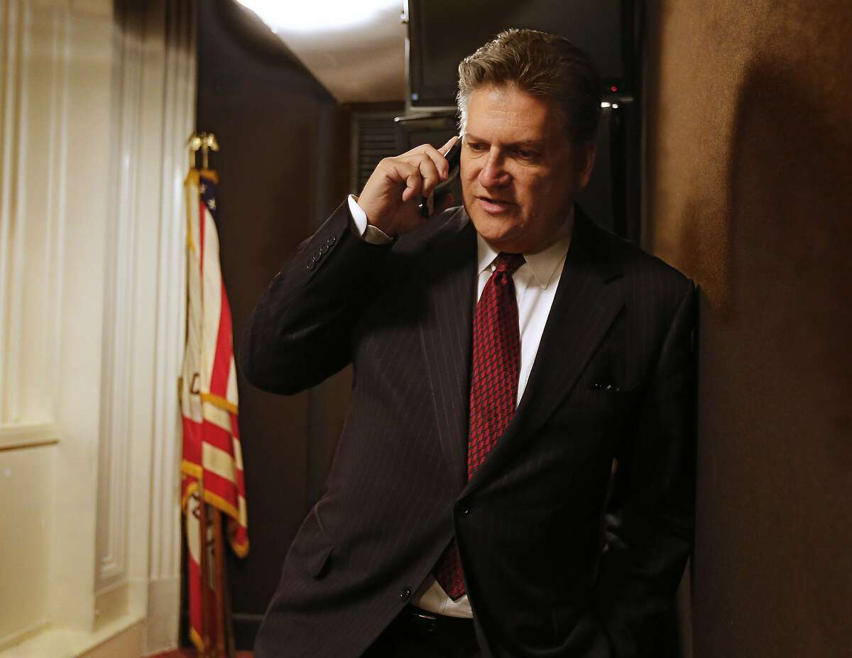 State Sen. Bob Hertzberg, D-Van Nuys, does a telephone interview with a radio station concerning his bail reform bill, Thursday, Aug. 16, 2018, in Sacramento, Calif. Lawmakers will have to decide whether to pass the bill before the end of the month. (AP Photo/Rich Pedroncelli)