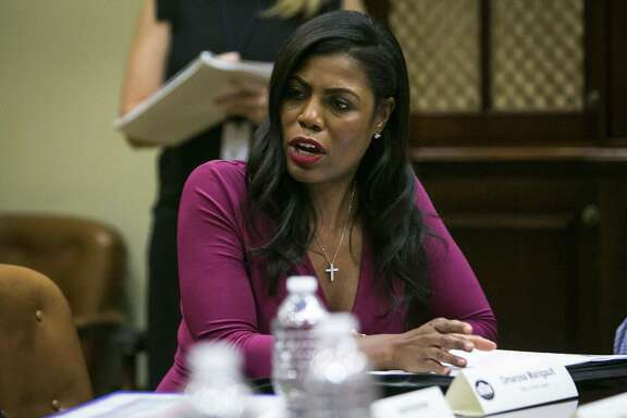 Omarosa Manigault Newman participates in a policy discussion regarding the Affordable Care Act, in the Roosevelt Room of the White House June 21, 2017. President Donald Trump's campaign said on Aug. 14 that it had filed an arbitration case against her. Her book has roiled the White House.