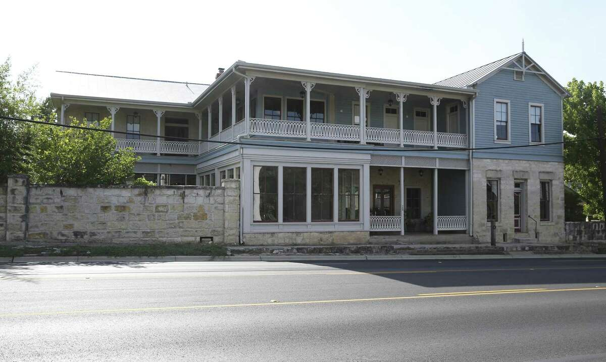 View of the Texas Polo Club from Main Street in Boerne. The original building dates from 1851.