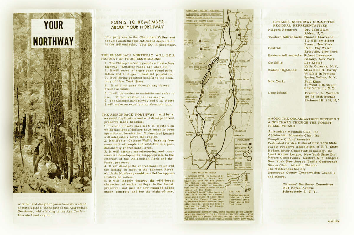 A northway brochure shows two proposed routes and promotes the Champlain Valley Northway.