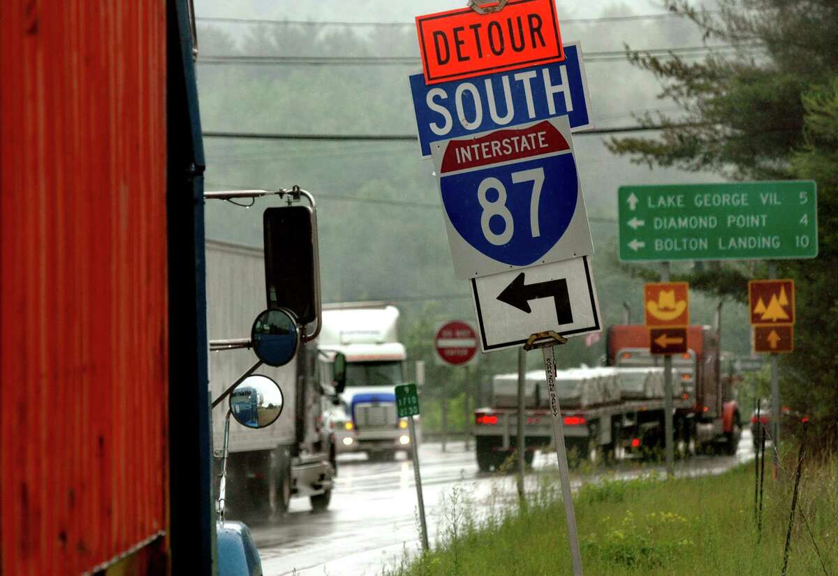 Interstate 87 was closed June 16, 2005, between exits 23 and 25 because of a landslide. (Times Union archive)