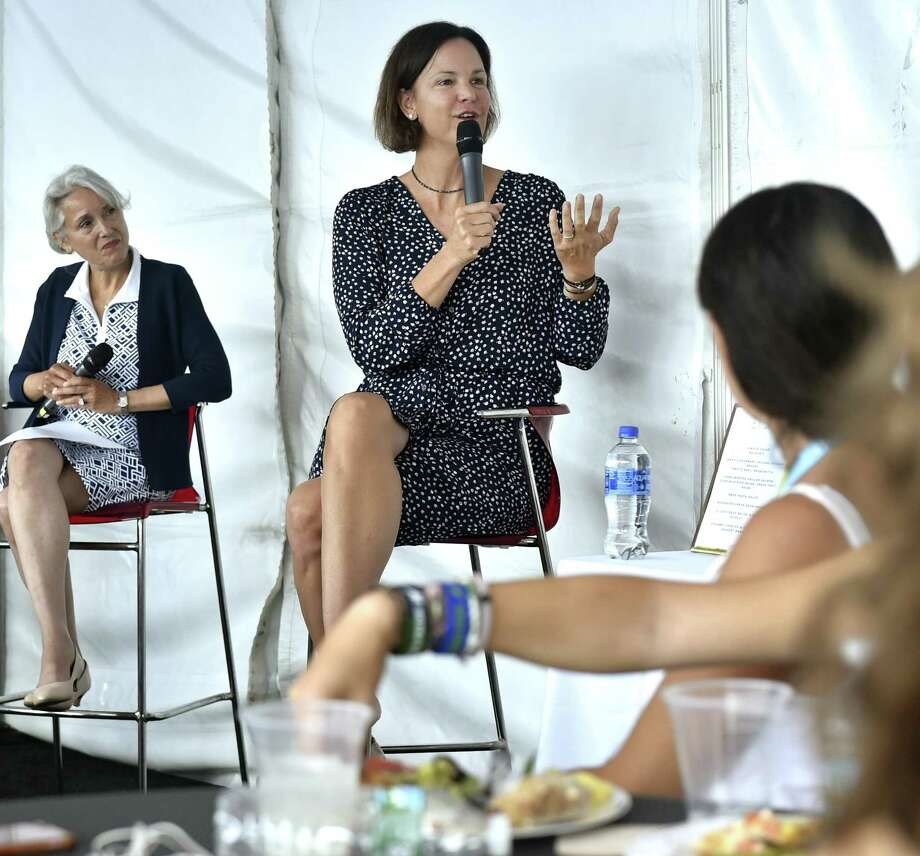 Retired WTA tennis player Lindsay Davenport, right, speaks to high school girls during the 6th Annual Anthem Girls Symposium Monday at the Connecticut Open. At left, is Jill Hummel, President and General Manager of Anthem Blue Cross & Blue Shield of Connecticut. Photo: Peter Hvizdak / Hearst Connecticut Media / New Haven Register