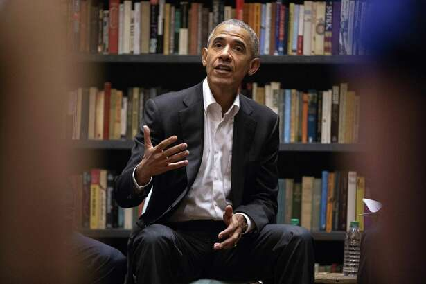 Former President Barack Obama speaks to a group of Obama Foundation Fellows in May in Chicago.