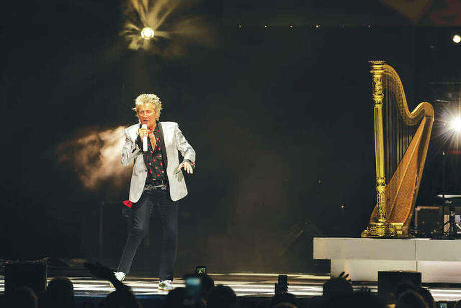 Belying his 73 years, Rod Stewart still had fans dancing, rocking and yes — swooning — over the man, who just doesn't seem to age, as he kept up his own traditional dancing, smiling, quipping, jumping around the stage and twirling the microphone at Hollywood Casino Amphitheatre Sunday night. Photo:       Photo Credit Keith Brake Photography Keith Brake|For The Telegraph
