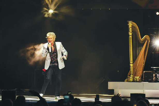 Belying his 73 years, Rod Stewart still had fans dancing, rocking and yes - swooning - over the man, who just doesn't seem to age, as he kept up his own traditional dancing, smiling, quipping, jumping around the stage and twirling the microphone at Hollywood Casino Amphitheatre Sunday night.