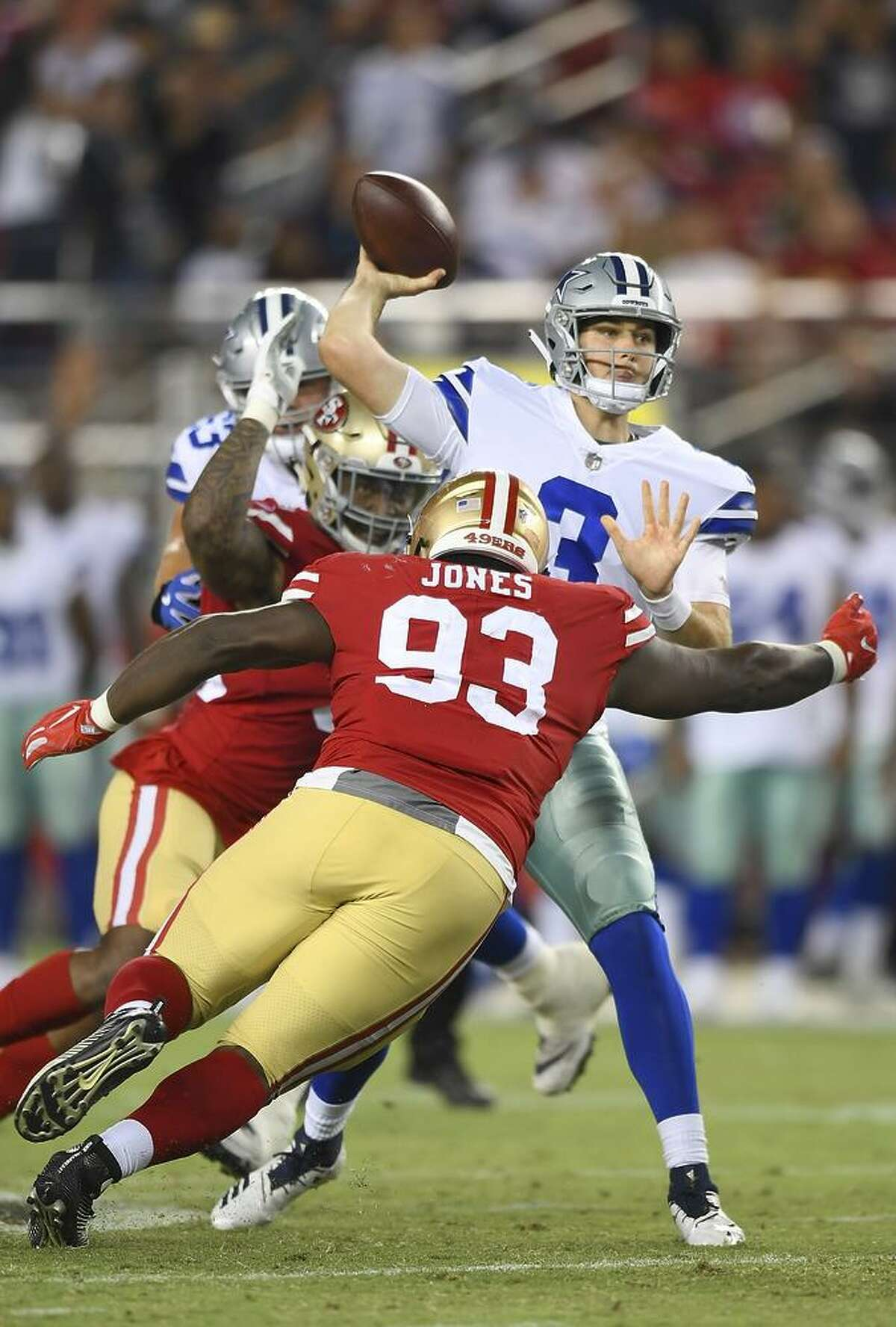 D.J. Jones puts pressure on Cowboys quarterback Mike White in the 49ers' preseason opener. Jones had three tackles and forced a fumble in last week's loss at Houston, where he earned the highest grade among 49ers defenders from Pro Football Focus.
