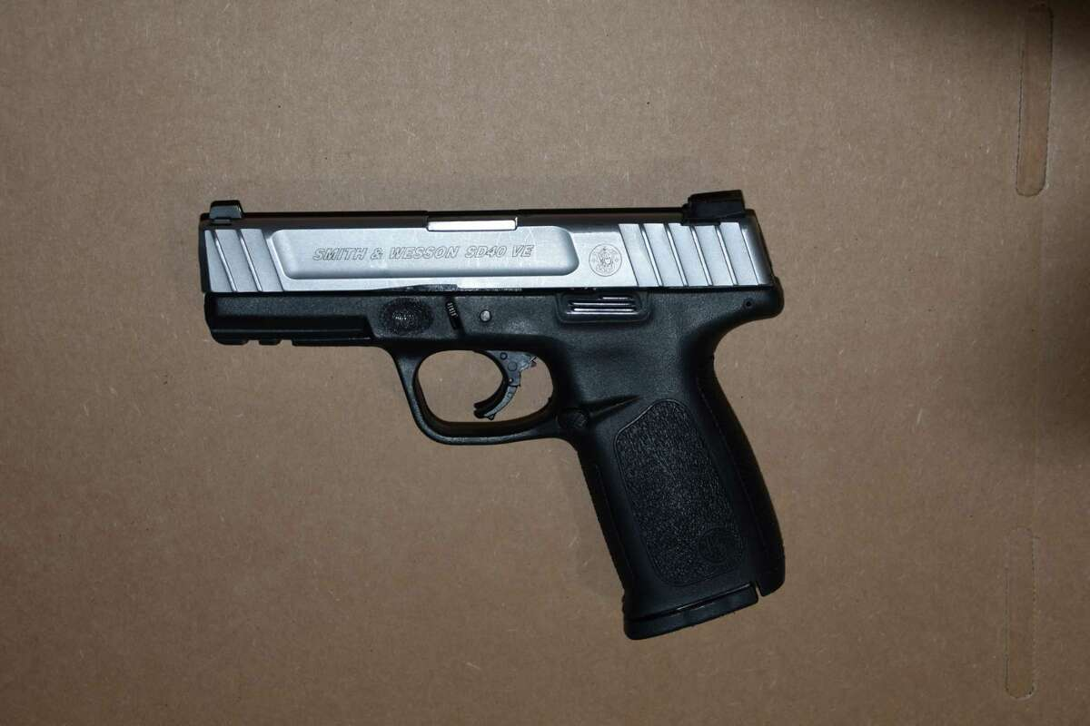 Smith & Wesson .40 caliber semi-automatic handgun with the serial number defaced found in the arrest of Timothy Figueroa.