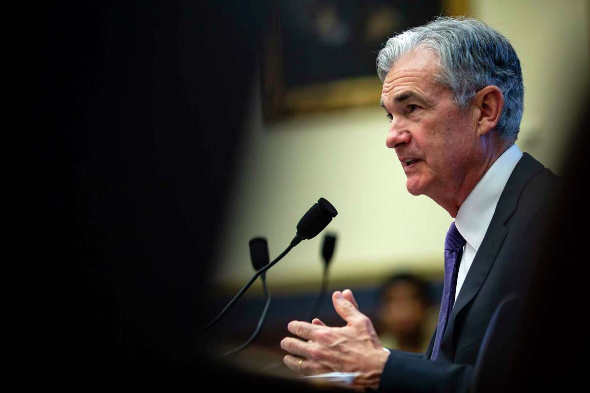 FILE-- Jerome Powell, chairman of the Federal Reserve, speaks during a House Financial Services Committee hearing on Capitol Hill in Washington, July 18, 2018. While the Fed is not expected to change interest rates during the August meeting, their upcoming statement will be closely analyzed by those invested in the future of the economy. (Al Drago/The New York Times)