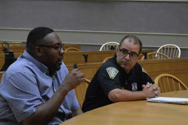 Alder Brian Wingate, D-29, and Animal Control Officer Joseph Manganiello during the aldermanic Legislation Committee meeting Monday in New Haven.