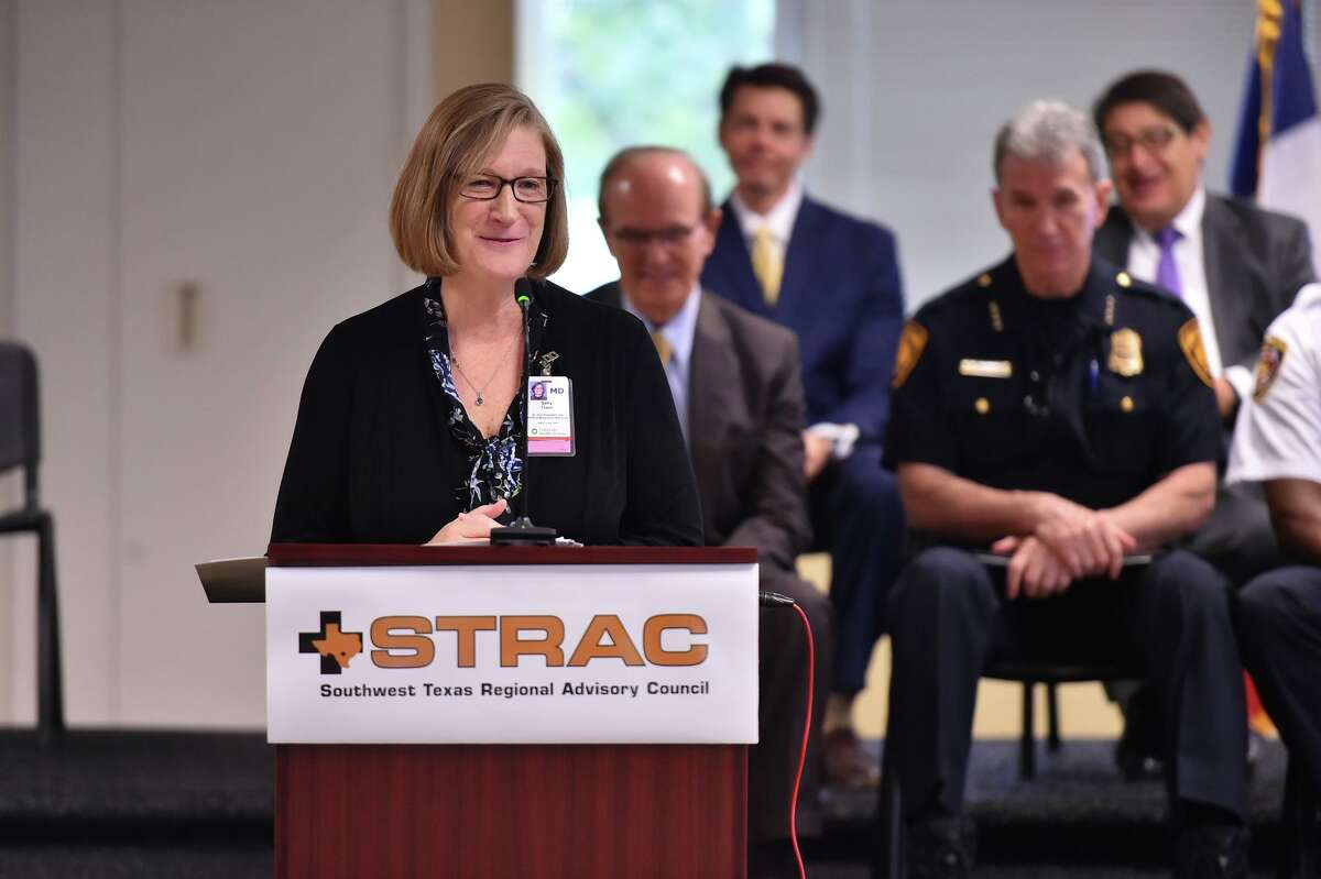 Dr. Sally Taylor of the University Health System speaks as a new collaboration is unveiled in 2018 to help individuals experiencing a mental health crisis. The Bexar County Department of Behavioral Health is reminding the public this week of mental health support services available during the COVID-19 crisis.