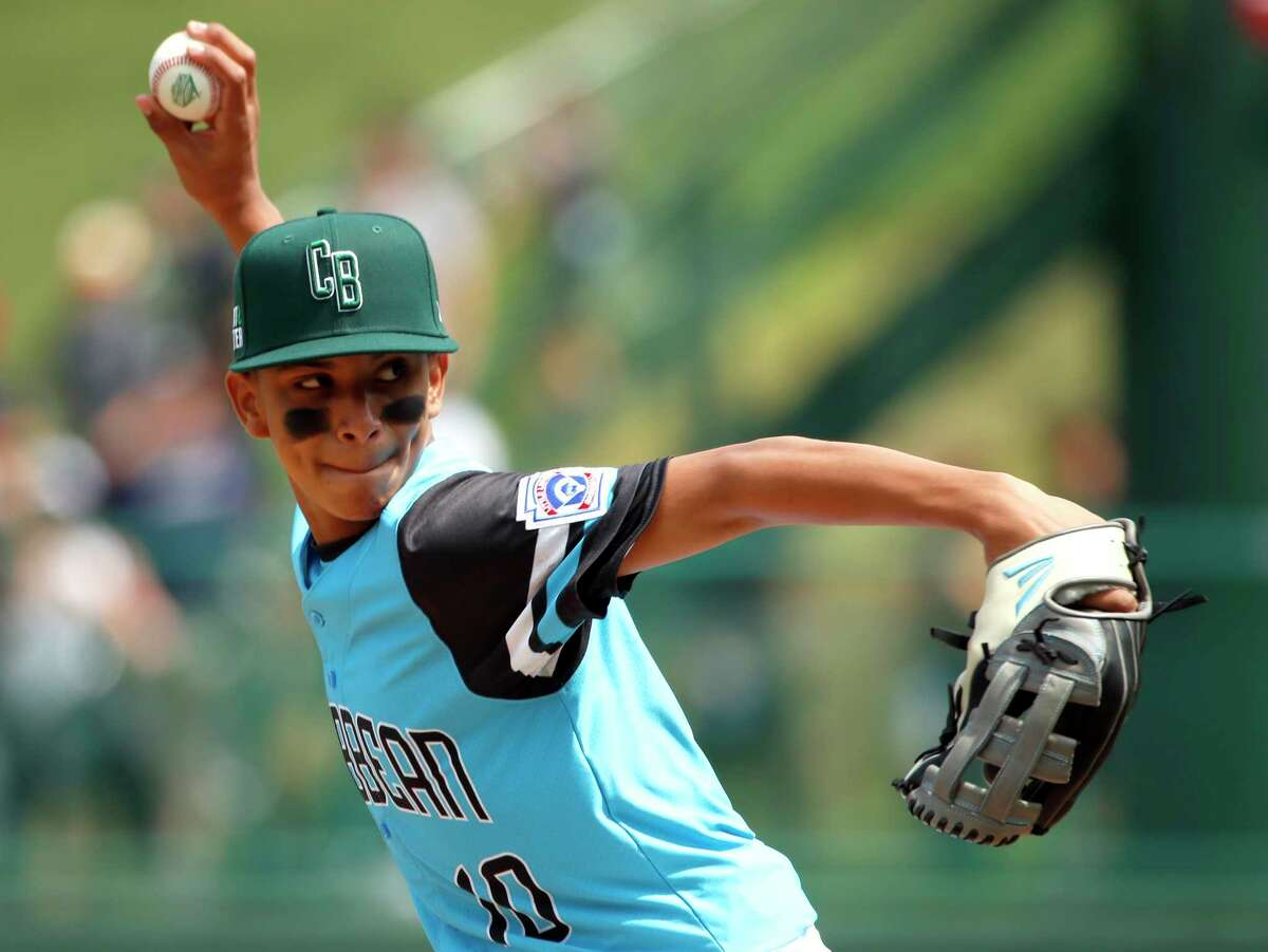 Puerto Rico's Roberto Joubert (10) pitches against Panama in the first inning of an elimination baseball game at the Little League World Series tournament in South Williamsport, Pa., Monday, Aug. 20, 2018. Puerto Rico won the game 3-1 eliminating Panama. (AP Photo/Tom E. Puskar)