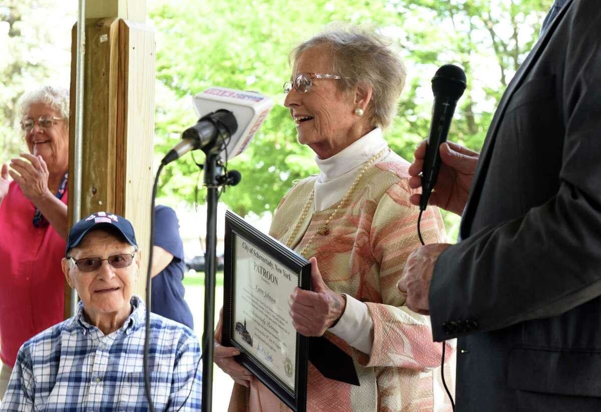Karen Johnson is presented with the Patroon Award by Mayor Gary McCarthy on Monday, Aug. 20, 2018, at Steinmetz Park in Schenectady, N.Y. The Patroon Award is the highest honor the City of Schenectady can bestow upon its residents. (Will Waldron/Times Union)