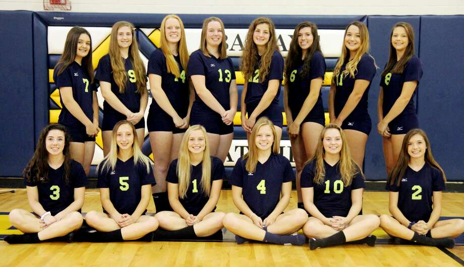 Members of the Bad Axe varsity volleyball team are (front row from left) Lauren Howard, Jailyn Campbell, Haylee Krug, Dana Weitenberner, Paige McIntyre and Laken Rosenthal (back row) Emily Volmering, Angel Knowlton, Laken Chapin, Marissa Brown, Olivia Britt, Shania Prill, Haley Miller and Eva Engel. (Mike Gallagher/Huron Daily Tribune) Photo: Mike Gallagher/Huron Daily Tribune