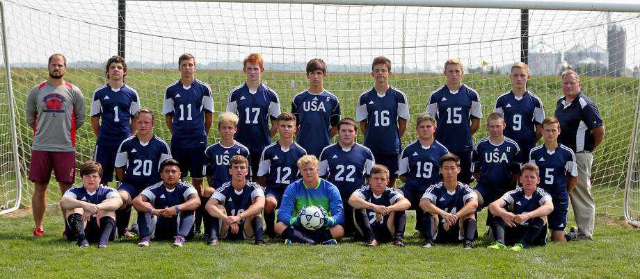 Members of the Unionville-Sebewaing Area soccer team are (front row from left) Thomas Couture, Cruz Fernandez, Evan Goslin, Colby Sutton, Hayden Larkin, Isaac Oh and Nicholas Kilburn (middle row) Nehemiah Parmenter, Alex Sella, Joshua Eurich, Nicolas Lutz, Landen Eremia, Kyle Schneeberger and Bentley Alderson (back row) coach Aaron Kuhl, Brett Gross, Cody Babcock, Benjamin Carson, Kristofer Nika, Leevy Matthews, Kyle Maust, Adam Maust and coach Kevin Kuhl. Missing are Logan Kemp, Nic Ewald and coach Adam Chambers. (Paul P. Adams/Huron Daily Tribune) Photo: Paul P. Adams/Huron Daily Tribune