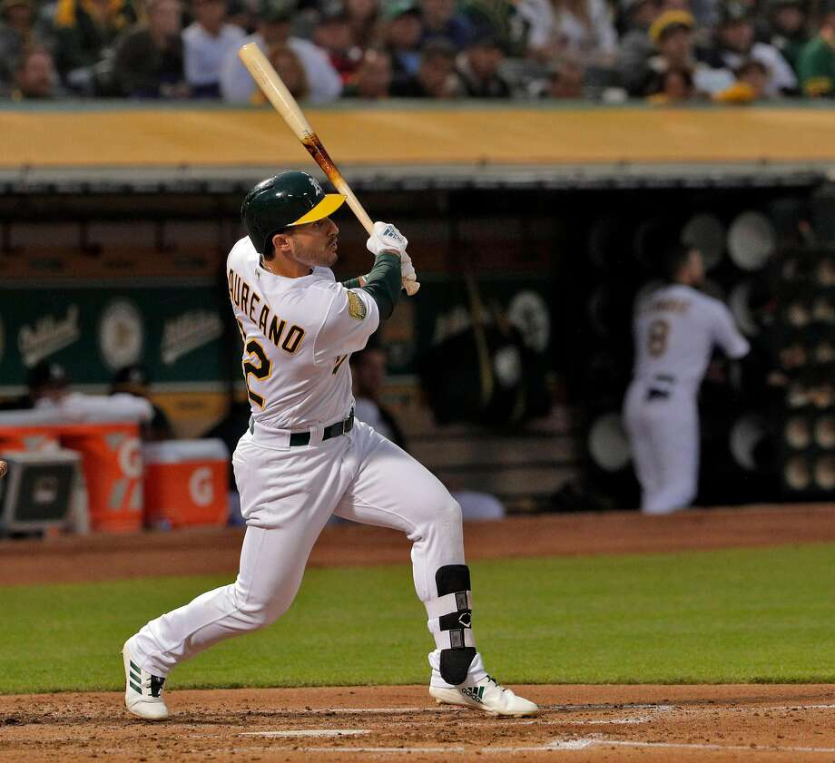 Ramon Laureano (22) watches the flight of his two-run homerun in the third inning, his first MLB homerun, as the Oakland Athletics played the Texas Rangers at the Coliseum in Oakland, Calif., on Monday, August 20, 2018. Photo: Carlos Avila Gonzalez / The Chronicle