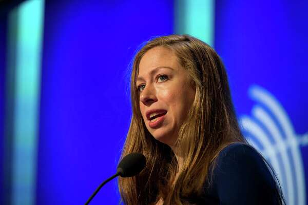 Chelsea Clinton, vice chairman of the Clinton Foundation, speaks during the annual meeting of the Clinton Global Initiative (CGI) in New York on Monday.