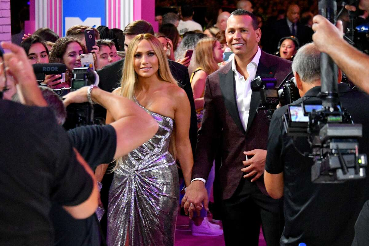 Jennifer Lopez and Alex Rodriguez attend the 2018 MTV Video Music Awards at Radio City Music Hall on August 20, 2018 in New York City.